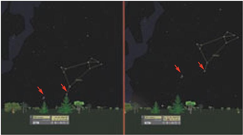 Si a las 4:15 (izquierda) las Pléyades y la constelación están situadas por encima de un punto destacado, se podrá ver una hora después que se han movido en dirección oeste. Sin embargo, entre ellas la posición no ha variado.