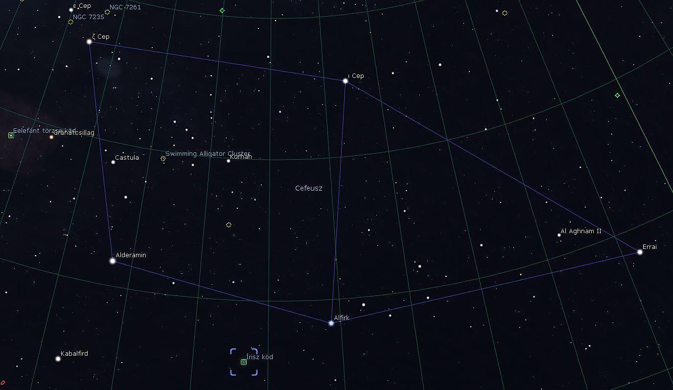 Constellation Cepheus with NGC7023