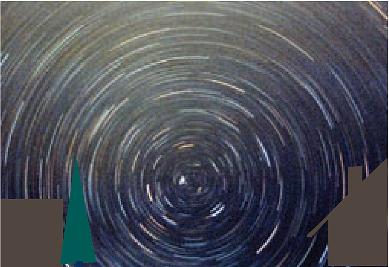 """Durante el tiempo de exposición de la película, las estrellas continúan moviéndose en el cielo nocturno. En esta foto – que fue tomada en primavera- se puede ver qué estrellas desaparecen por el horizonte en un periodo corto de tiempo, es decir """"se ponen"""""""