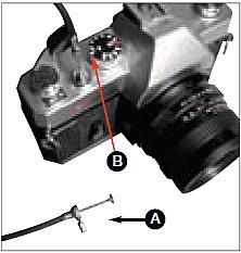 """Una clásica cámara reflex con cable de disparo (A). El tiempo de exposición está dispuesto en """"B"""""""