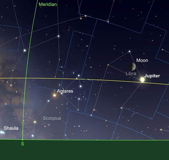 Jupiter, en conjonction avec la Lune, tard dans la nuit du 7 Août.