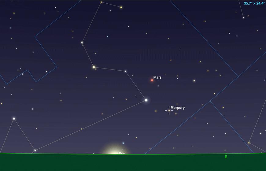 Merkur, Sonnenaufgang 31. August