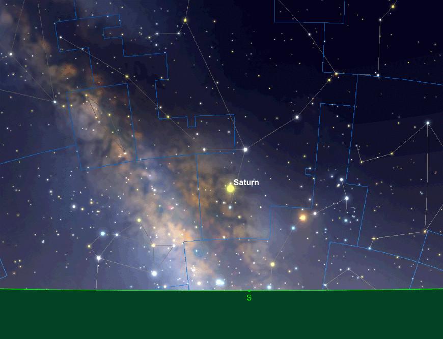 Saturnposition, früher Abend, 15. August