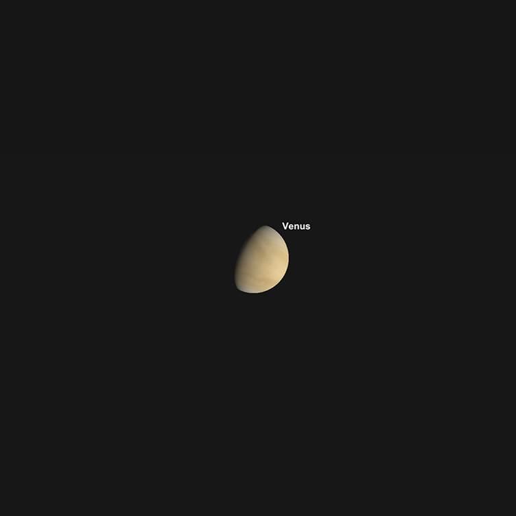 Venusphase, Sonnenuntergang, 1. Juli