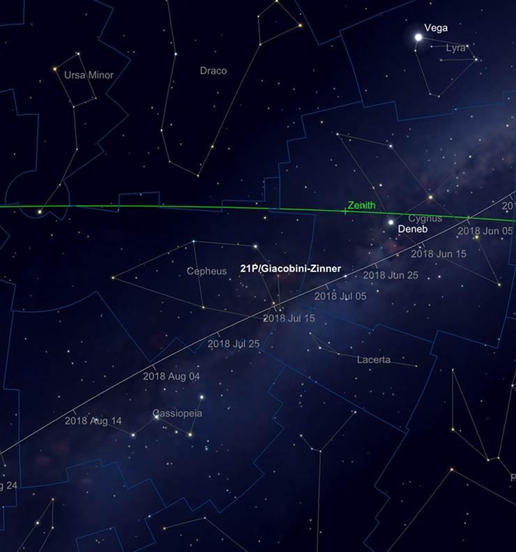 21P/Giacobini-Zinner'sPfad durch Cygnus, Cepheus and Cassiopeia