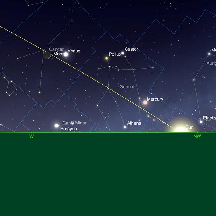 Der Mond mit Venus und Merkur
