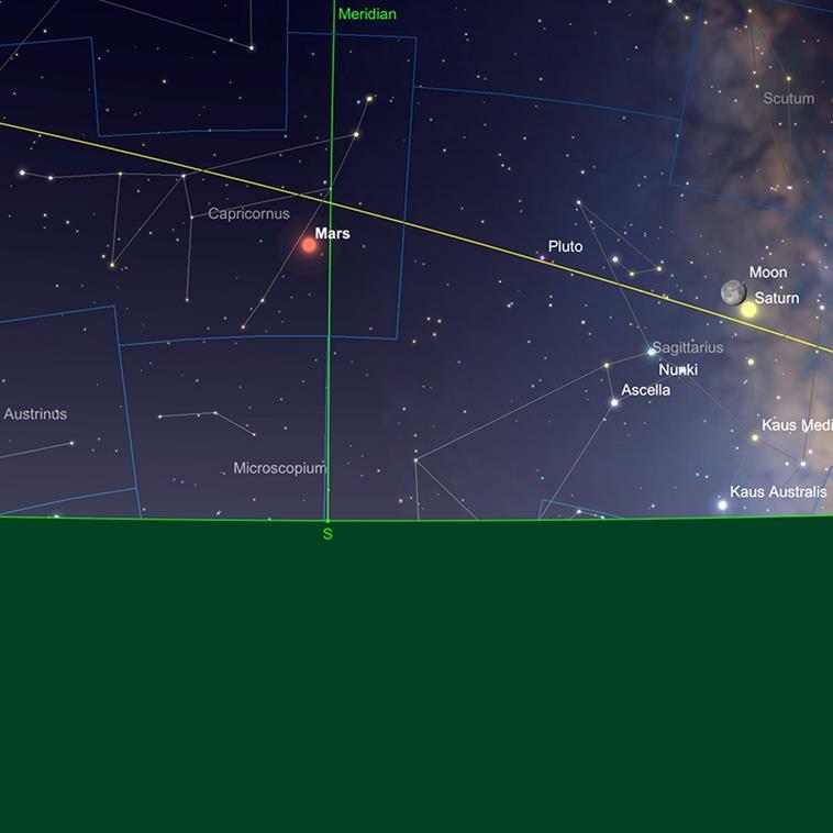 Mars near transit point, predawn, 1st June