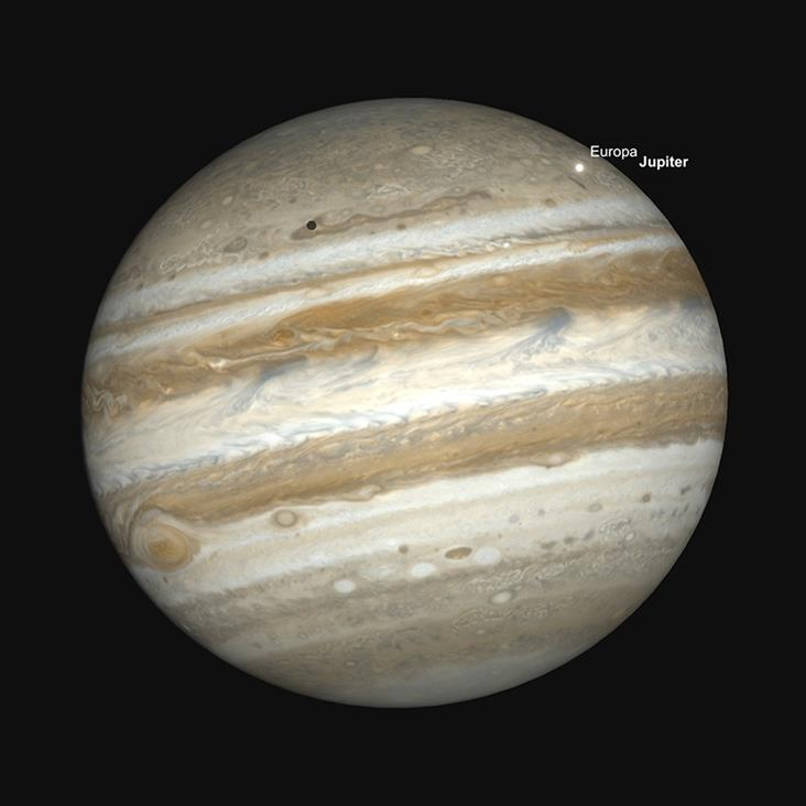 Jupiter, Großer Roter Fleck (GRF) und Europa Transit