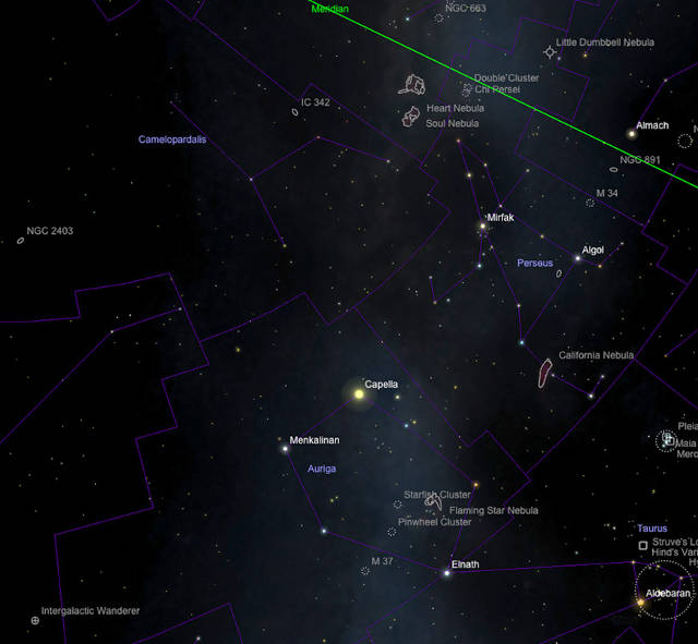 Camelopardalis, Perseus und Auriga