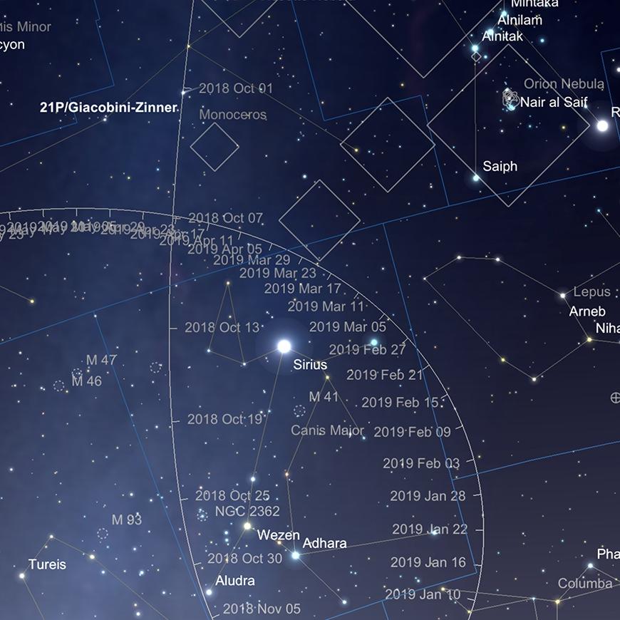 21P/Giacobini-Zinner Pfad im Oktober (Kometenposition am 1. Oktober).