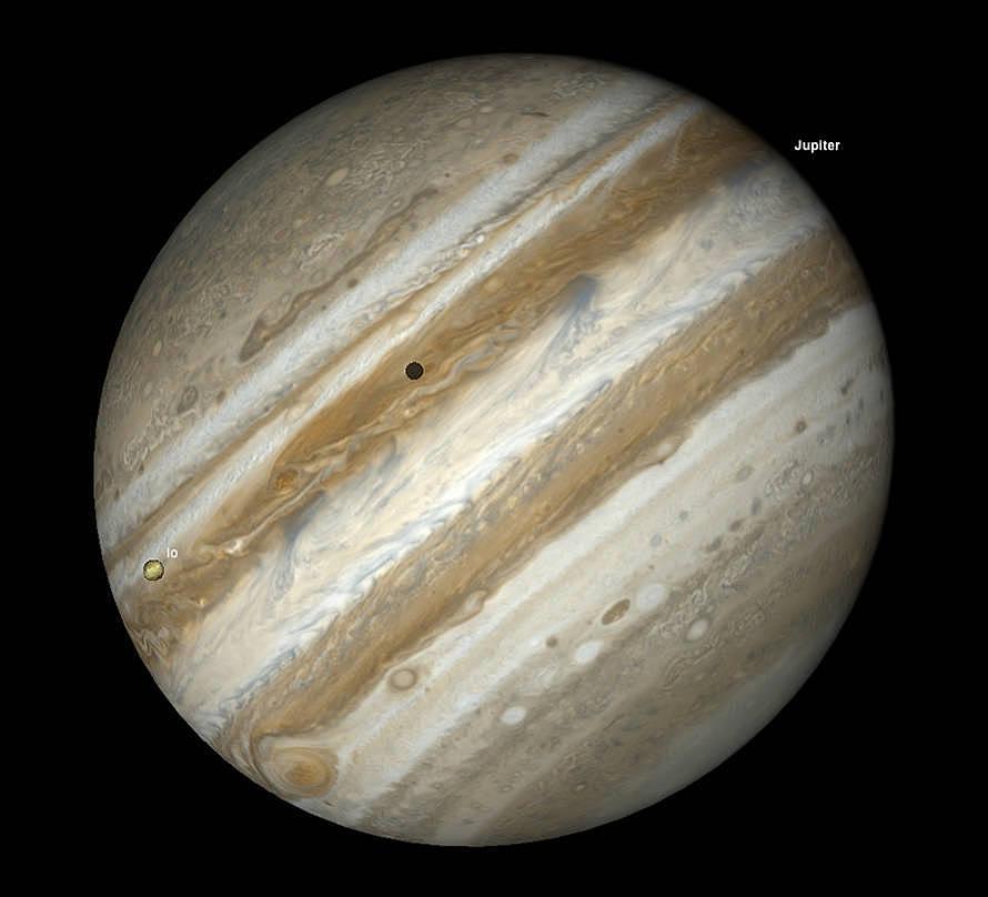 Jupiters Großer Roter Fleck und Io Transit