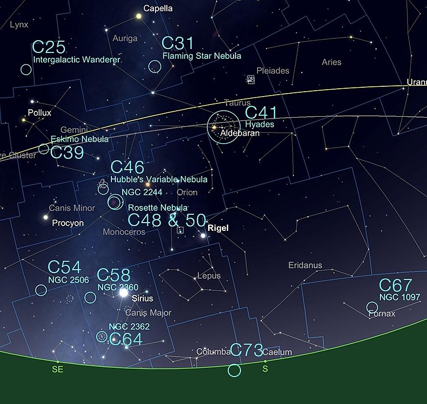 Die winterlichen Caldwell Objekte (51° N).