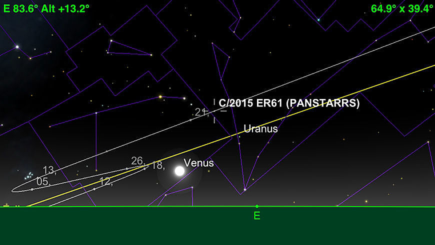 Comet 2015 ER61 (PanSTARRS) path July 2017