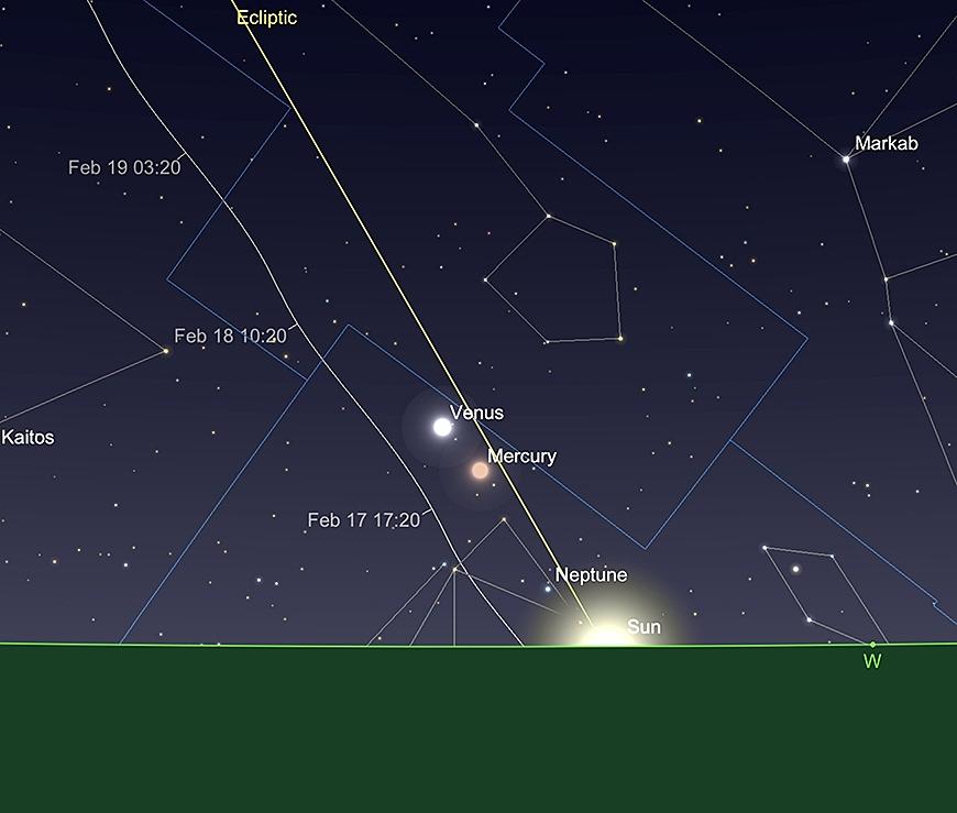 Mercure et Vénus, au coucher de SOLEIL, 28 février