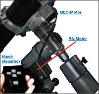 Ein parallaktisch montiertes Teleskop mit nachgerüsteten Motoren