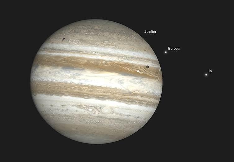 Jupiter mit Io und Europa sowie Doppelschatten des Doppeltransits, 3. September, Sonnenuntergang