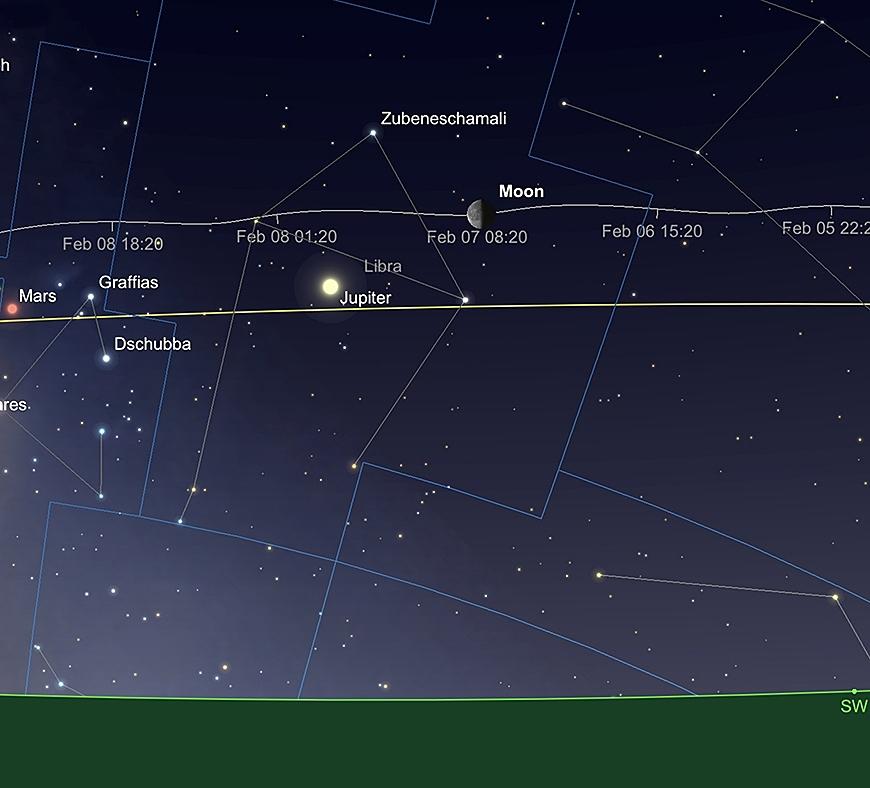 La Lune et Jupiter, le 7 février à l'aube