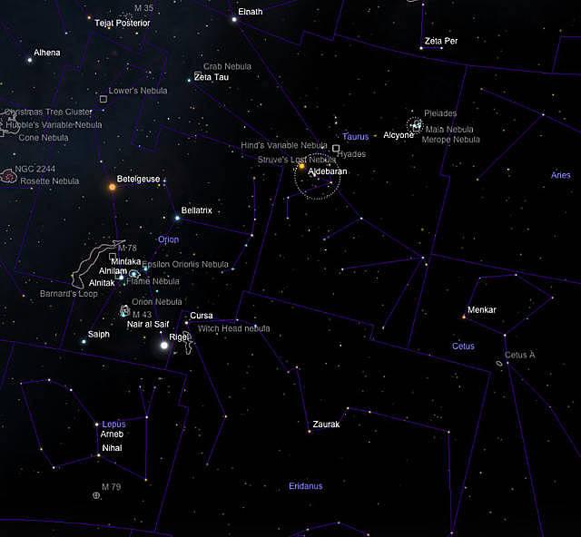 Orion, Taurus, Lepus Eridanus und Ausschnitte von Cetus.