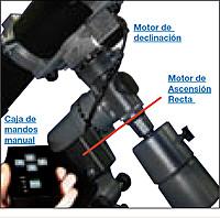 Un telescopio con ajuste de paralaje con motores de seguimiento