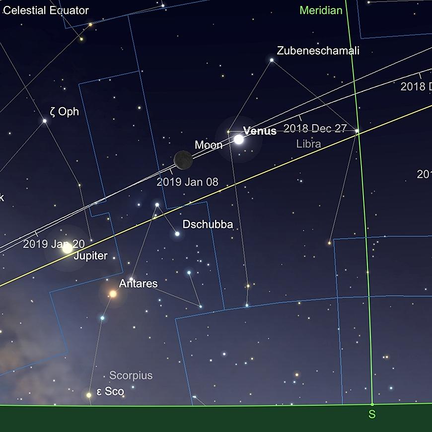 Venus und Mond bei Sonnenaufgang 2. Januar.