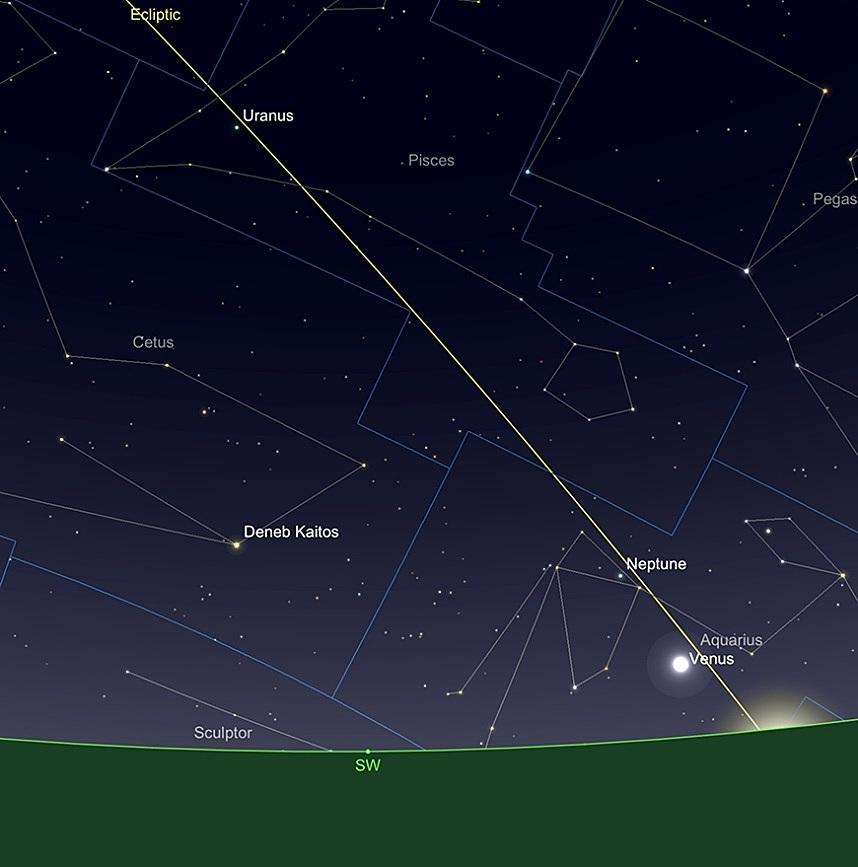 Uranus et Neptune, en début de soirée, le 15 février