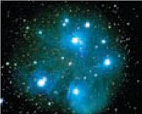 El cúmulo estelar abierto de las Pléyades M45 de C. Kimballl