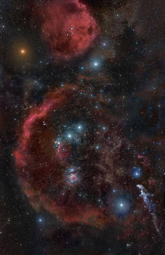 Barnards Loop und größere Molekülwolken im Orion