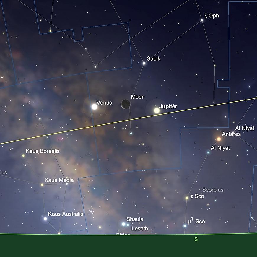 Jupiter, der Mond und Venus in Konjunktion, Sonnenaufgang am 31.Januar.