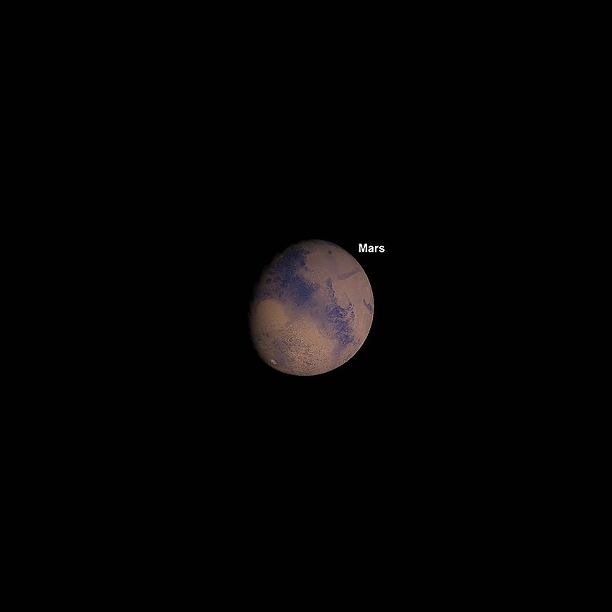 Zunehmender Mars am Transit 5.18pm, 1. Januar.