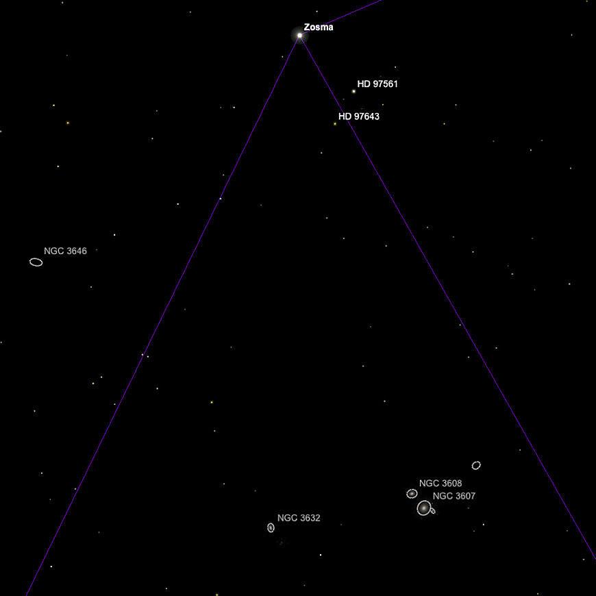 NGCs 3607, 3608 und 3632.